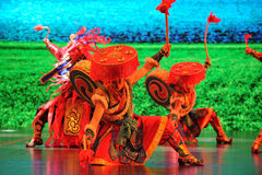 """Tibetan welcome dance-Large scale scenarios show"""" The road legend"""". The drama about a Han Princess and king of Tibet Song Xan Gan Bbu and the story Stock Photos"""