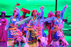 "Tibetan welcome dance-Large scale scenarios show"" The road legend"". The drama about a Han Princess and king of Tibet Song Xan Gan Bbu and the story royalty free stock image"