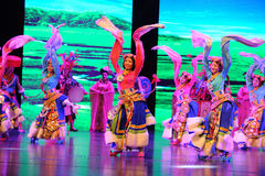 "Tibetan welcome dance-Large scale scenarios show"" The road legend"". The drama about a Han Princess and king of Tibet Song Xan Gan Bbu and the story stock photo"