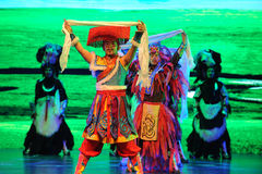 """Tibetan welcome dance-Large scale scenarios show"""" The road legend"""". The drama about a Han Princess and king of Tibet Song Xan Gan Bbu and the story Royalty Free Stock Image"""