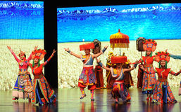 "Tibetan welcome dance-Large scale scenarios show"" The road legend"". The drama about a Han Princess and king of Tibet Song Xan Gan Bbu and the story royalty free stock photo"