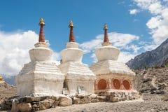 Tibetan white pagodas Royalty Free Stock Photo