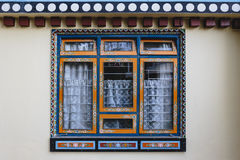 Tibetan window style with unique decoration in Sikkim, India. Royalty Free Stock Photo