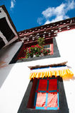The Tibetan windowsill. Tibetan Architecture in the plateau of the sun Royalty Free Stock Photo