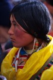 Tibetan woman. A Tibetan woman with gorgeous clothes Royalty Free Stock Images