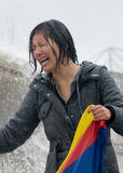 Tibetan Woman Crying Royalty Free Stock Photography