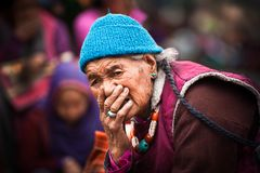 Tibetan woman at folk festival. India, Ladakh Stock Photo