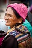 Tibetan woman at folk festival. India, Ladakh Stock Photos