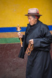 Tibetan woman praying around the Palkhor Temple Royalty Free Stock Photo