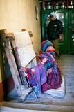 Tibetan woman weaving Stock Photography