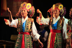 Tibetan Women Dance. The Tibetan Institute of Performing Arts (TIPA) is the premiere exile institute entrusted with the responsibility of preserving and Royalty Free Stock Images