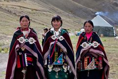 Tibetan women in Dolpo, Nepal Royalty Free Stock Image