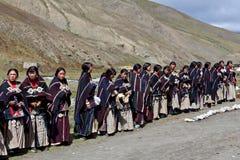 Tibetan women in Dolpo, Nepal stock photos