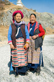 Tibetan women. In the neighborhood Songzanlin Monastery, located at the foot of the mountain Fopingshan Stock Photo