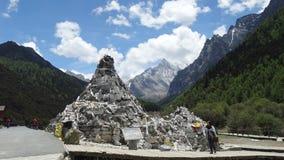 Tibetan worship stone pile Stock Images