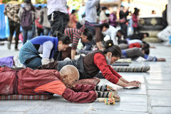 Tibetan worshippers from all over Tibet pray Stock Photography