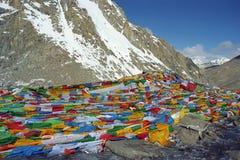 Tibetana bönflaggor Lungta på det Drolma Lapasserandet Arkivfoto
