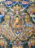 Tibetana diagram för thangkasBuddhavägg Arkivbilder