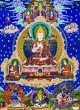 Tibetana diagram för thangkasBuddhavägg Arkivfoton