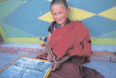 Tibetana monks Royaltyfri Fotografi