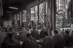 Tibetana Monks - den Ganden kloster - Tibet Arkivfoto