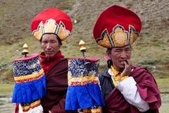 Tibetana monks rnying-mor-pa Royaltyfria Bilder