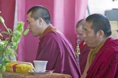 Tibetana munkar på buddistisk ceremoni för Amitabha bemyndigande, meditationmontering i Ojai, CA fotografering för bildbyråer