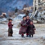 Tibetana pojkar, Nepal Royaltyfria Bilder