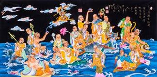 Tibetana thangkas 18 arhats Arkivbild