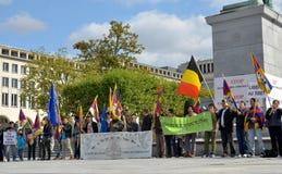 Tibetaner demonstrieren in Brüssel Stockbilder