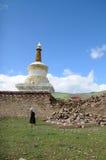 Tibetani sotto Baita Fotografie Stock