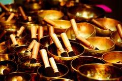 Tibetanische Glocken, Entspannungsmusik und T?ne stockbild