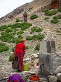 Tibetanische Männer, die Wasser an einem Hahn, Rongbuk, Tibet, China erhalten stockbilder