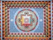 Tibetanischer Mandalaanstrich auf monestery Stockfoto