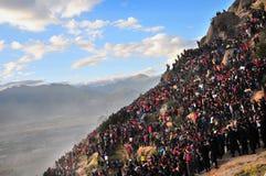 Tibetano Sho Dun Festival celebrado en Lasa Imagen de archivo libre de regalías