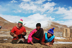Tibetans. Family members on the highlands of Tibet.Used for news and articles about the traveling and situation in Tibet Stock Photo
