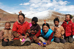 Tibetans. Family members on the highlands of Tibet.Used for news and articles about the traveling and situation in Tibet Royalty Free Stock Images