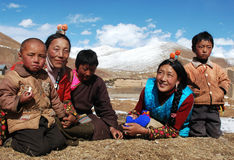 Tibetans. Family members on the highlands of Tibet.Used for news and articles about the traveling and situation in Tibet Stock Photos