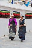 Tibetans at Bouddhanath Stupa Stock Image