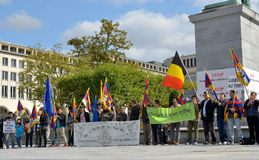 Tibetans demonstrate in Brussels. BRUSSELS, BELGIUM - SEPTEMBER, 15: Activists of Tibetan Community demonstrate for freedom of Tibet on Place de l'Albertine on Stock Images