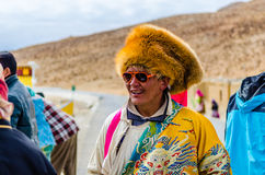 Tibetans in national clothes on holiday Stock Photos