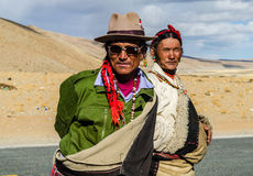 Tibetans in national clothes on holiday near Lake Manasarovar. Tibet Royalty Free Stock Image