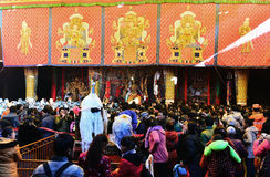 Tibetans are queuing. They go to worship Stock Photo