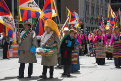 Tibetans Represented Tibet in the 20th International Cultures Pa. NEW YORK, NY - JUNE 21:Tibetans Represented Tibet in the 20th International Cultures Parade in Stock Photo