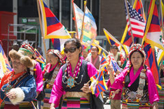 Tibetans Represented Tibet in the 20th International Cultures Pa. NEW YORK, NY - JUNE 21:Tibetans Represented Tibet in the 20th International Cultures Parade in Stock Photos
