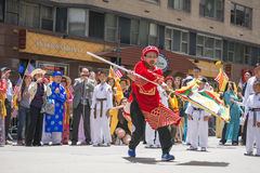 Tibetans Represented Tibet in the 20th International Cultures Pa. NEW YORK, NY - JUNE 21:Tibetans Represented Tibet in the 20th International Cultures Parade in Royalty Free Stock Photo