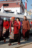 Tibetans are visiting Bodnath stupa,Kathmandu Stock Photos