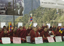 Tibetan Peaceful Protest at Mcleod Ganj, Dharamsala Stock Image