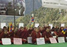 Tibeten ruhiger Protest stockbild