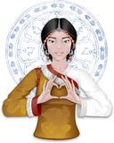 Tibetan girl showing heart by fingers. On the background with a folk ornament Royalty Free Stock Photo